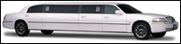 White Super Stretch Lincoln Town Car Limousine Exterior